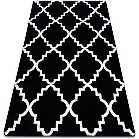 Alfombra SKETCH - F343 negro/blanco Enrejado Trébol marroquí Negro 160x220 cm