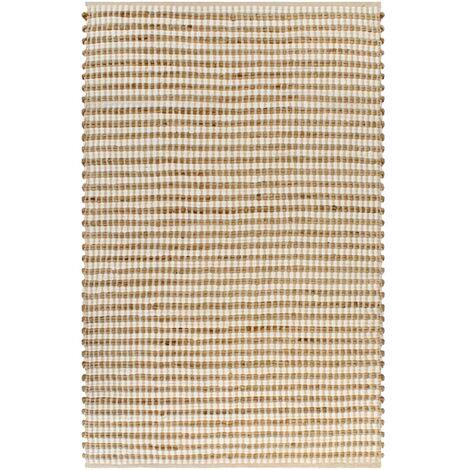 Alfombra tejida a mano yute y tela 120x180 cm natural y blanca