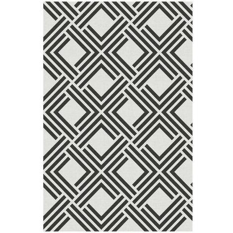 Alfombra vinílica Deblon, antideslizante y muy resistente, para interior y exterior, Geométrica Negra