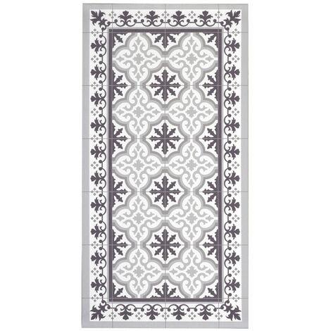 Alfombra VinylFloor, Alfombra estampada de vinilo PVC, antideslizant y lavable, ideal para cocina, salón, baño…, Gris Negro