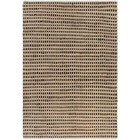 Alfombra yute y tela tejida a mano 120x180 cm natural y negra