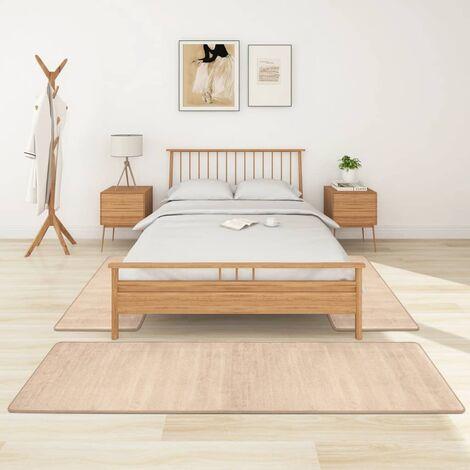 Alfombras de dormitorio de pelo largo 3 piezas beige - Beige