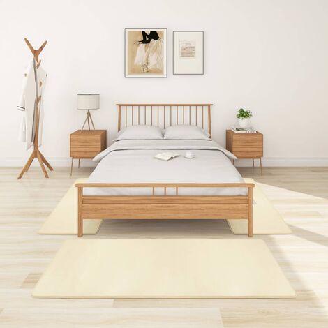 Alfombras de dormitorio de pelo largo 3 piezas color crema - Crema
