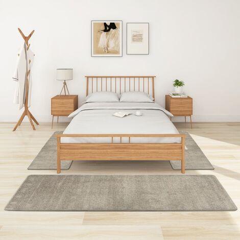 Alfombras de dormitorio de pelo largo 3 piezas gris - Gris