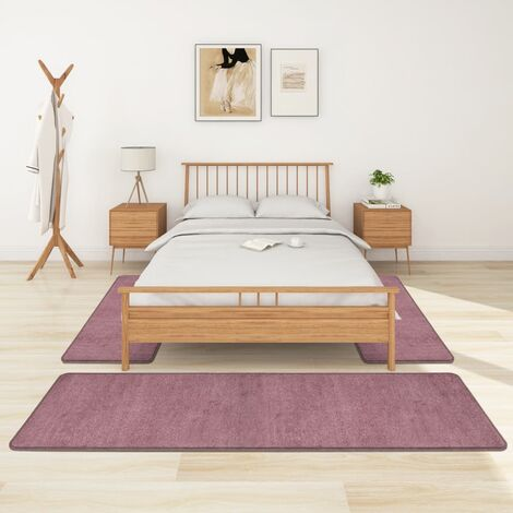 Alfombras de dormitorio de pelo largo 3 piezas morado - Púrpura