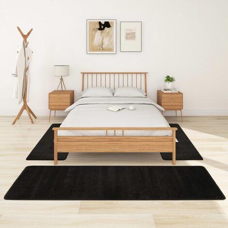 Alfombras de dormitorio de pelo largo 3 piezas negro - Negro