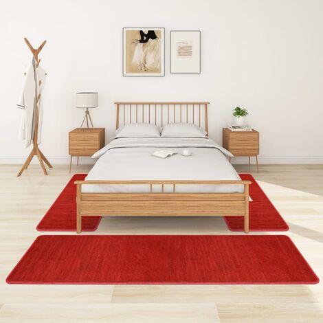 Alfombras de dormitorio de pelo largo 3 piezas rojo - Rojo