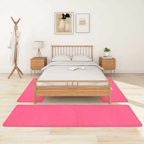 Alfombras de dormitorio de pelo largo 3 piezas rosa - Rosa