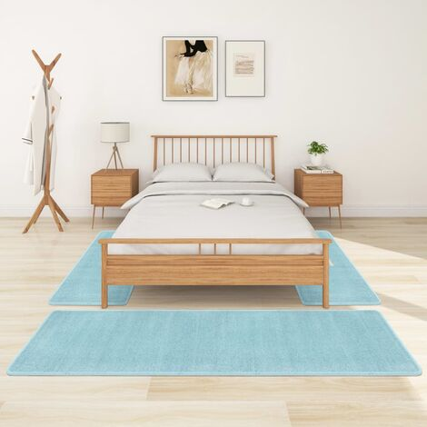 Alfombras de dormitorio de pelo largo 3 piezas turquesa - Turquesa