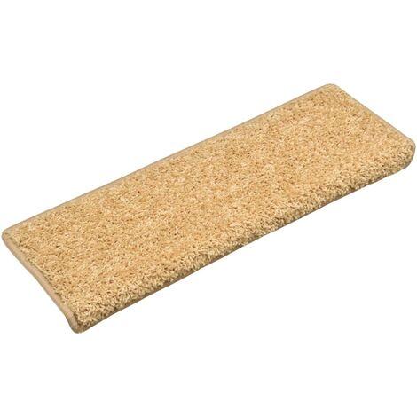 Alfombras de peldaños de escalera 15 uds beige 65x25 cm