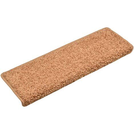 Alfombras de peldaños de escalera 15 uds marrón 65x25 cm