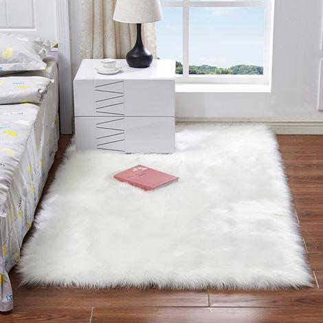 Alfombras mullidas, de imitacion de piel de oveja de lana de la alfombra, blanco, 30 * 30cm