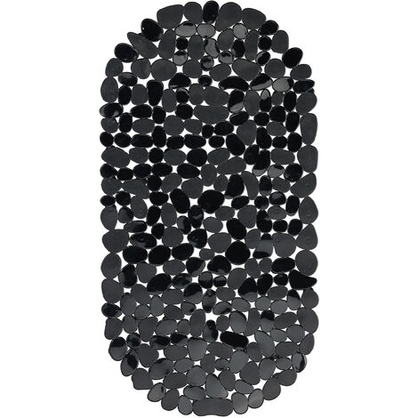 Alfombrilla bañera, Apariencia de piedras, Antideslizante, Con ventosas, Lavable, 36 x 68 cm, 1 Ud.. Negro