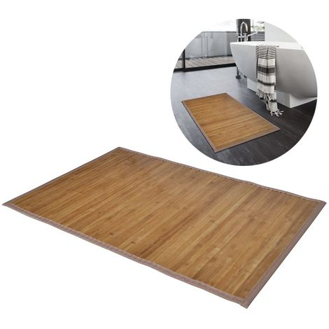 Alfombrilla de bano de bamb¨² 60 x 90 cm marron