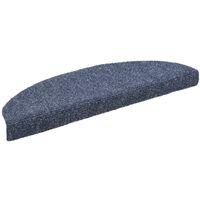 Alfombrilla de escaleras 15 uds tela punzonada 65x21x4 cm azul