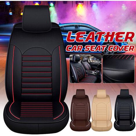 """main image of """"Alfombrilla protectora para asiento de coche Funda protectora de cuero PU L5O3 Juego de almohadillas transpirables (Rojo Negro, Versión de lujo)"""""""