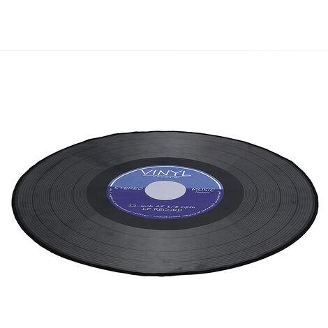 Alfombrilla redonda de tela suave impresa disco de vinilo 3D