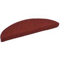 Alfombrillas de escaleras autoadherente 15 uds 54x16x4 cm roja