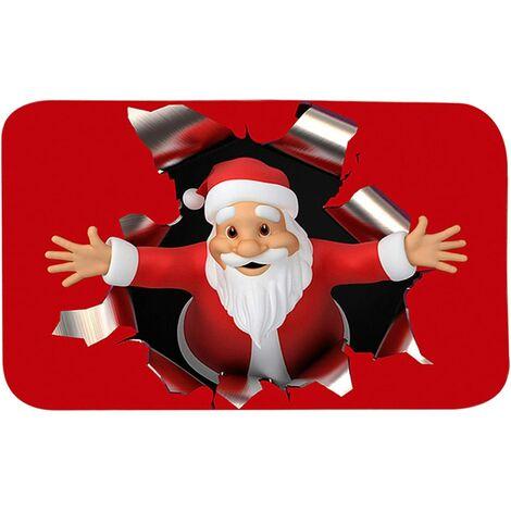 Alfombrillas navideñas para el hogar, alfombras antideslizantes, alfombras duraderas de Papá Noel, alfombra de entrada para puerta, cocina, dormitorio, 19,69 31,50 pulgadas