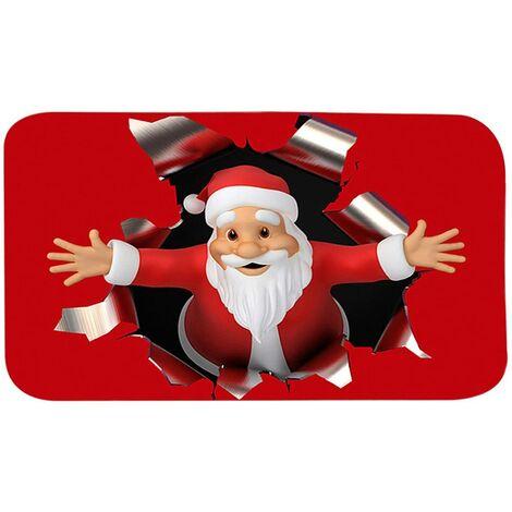 Alfombrillas navideñas para el hogar, alfombrillas antideslizantes, alfombra duradera de Papá Noel, alfombra de entrada para puerta, cocina, dormitorio, 15,75 x 23,62 pulgadas