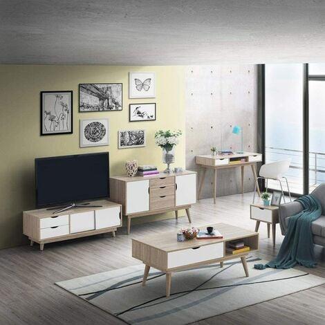 Alford Scandinavian Living Room Oak White TV Unit Coffee Table Sideboard