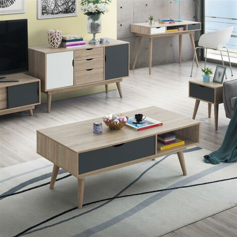 "main image of ""Alford Scandinavian Low Coffee Table Living Room Sonoma Oak & Grey"""