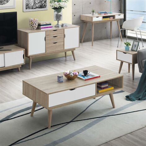"""main image of """"Alford Scandinavian Low Coffee Table Living Room Sonoma Oak & White"""""""
