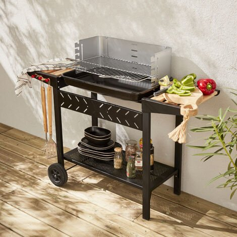 Alfred charcoal BBQ - Charcoal grill black barbecue with shelves, casters, storage, adjustable 5 level cooking