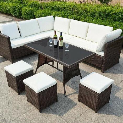 Algarve Outdoor Seating & Table 7 Piece Garden Set (BEAUTIFUL BROWN)