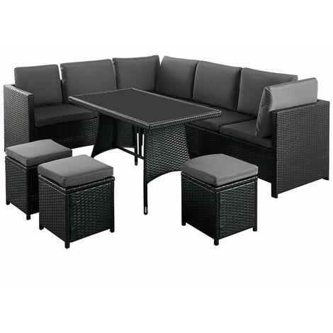 Algarve Outdoor Seating & Table 7 Piece Garden Set (BRILLIANT BLACK)