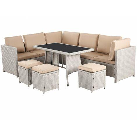 Algarve Outdoor Seating & Table 7 Piece Garden Set (CLASSY CREAM)