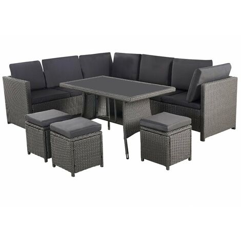 Algarve Outdoor Seating & Table 7 Piece Garden Set (GLAMAROUS GREY)