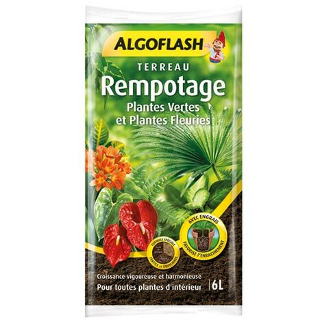 ALGOFLASH - Terreau Rempotage, Plantes Vertes et Plantes Fleuries 6L