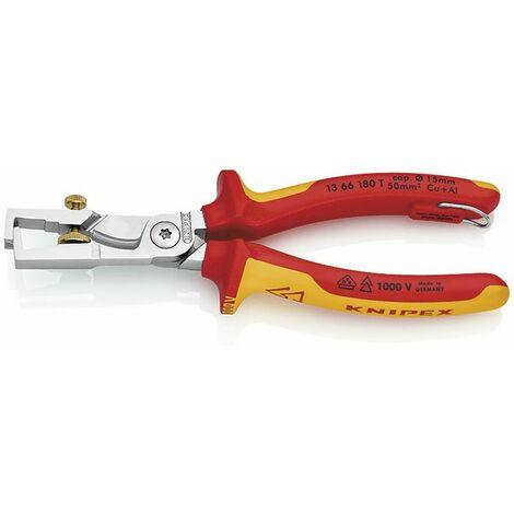 Alicate pelacables con cortacables - KNIPEX - WERK : 13 66 180 T
