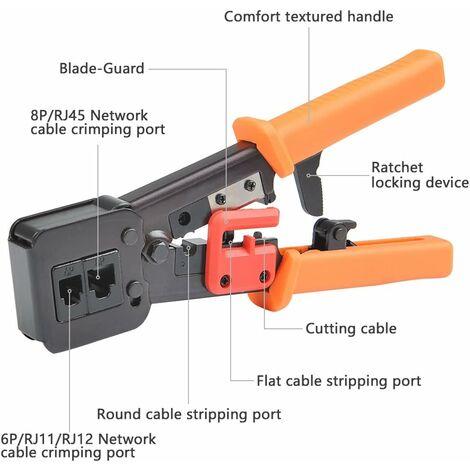 Alicates de crimpado LITZEE RJ45 para cables de red y telefónicos RJ11 / RJ12 - Alicates de crimpado modulares de telecomunicaciones 3 en 1 Alicates de crimpado de red con trinquete para cables de red 6P / 8P