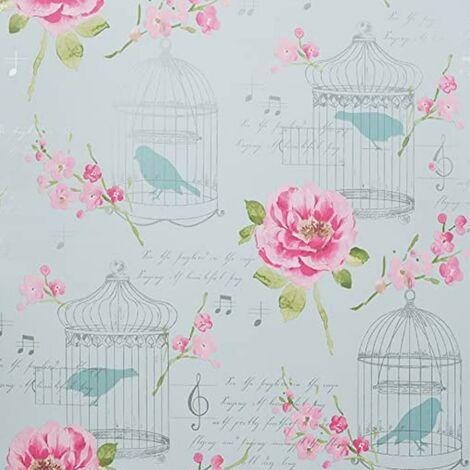 Alice Floral Wallpaper Pink Blush Teal Duck Egg Flowers Roses Birds Vintage