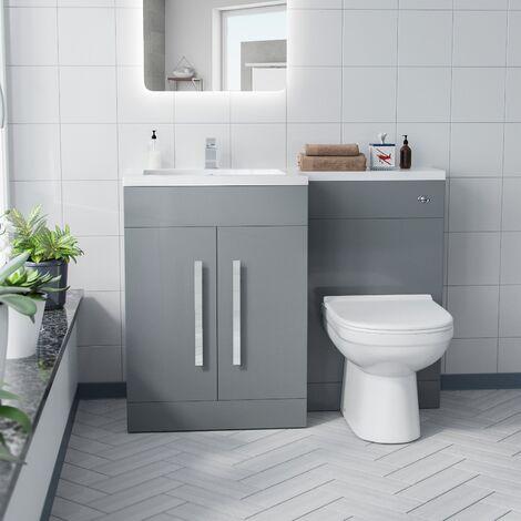 Alice Left Hand Light Grey Bathroom Basin Vanity Unit WC with Toilet
