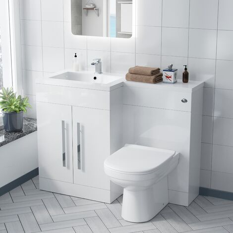 Alice Left Hand White Bathroom Basin Vanity Unit WC with Toilet