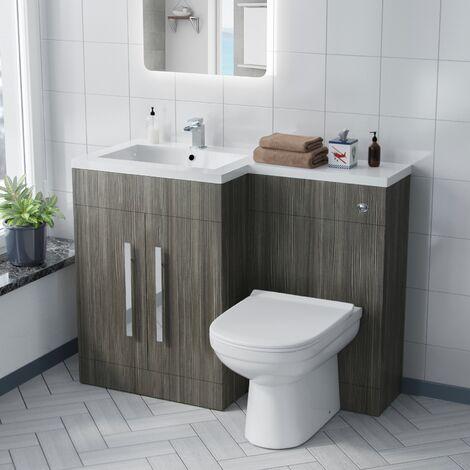 Alice Left Hand Wood Grey Bathroom Basin Vanity Unit WC with Toilet