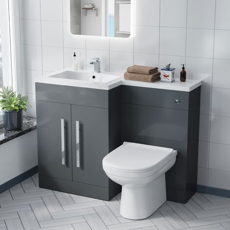 Alice LH Grey Vanity Sink and Debra BTW Toilet Combo Unit