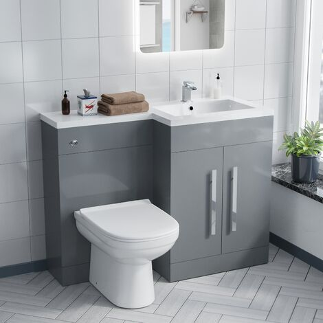 Alice Right Hand Light Grey Bathroom Basin Vanity Unit WC with Toilet