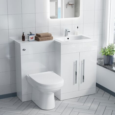 Alice Right Hand White Bathroom Basin Vanity Unit WC with Toilet