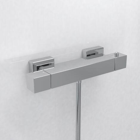 Alice Square Thermostatic Bar Shower Mixer Valve Chrome
