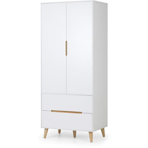 Alicia White And Oak 2 Door Wooden Combination Wardrobe With Drawers