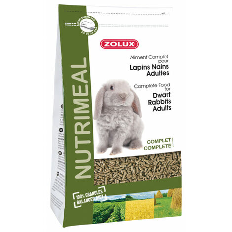 Aliment complet pour Lapins nains Adultes. sachet 2.5 kg. pour rongeurs.