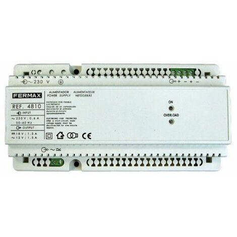 Alimentador 18VCC/1,5A-12VCA/1,5A DIN10. FERMAX 4810