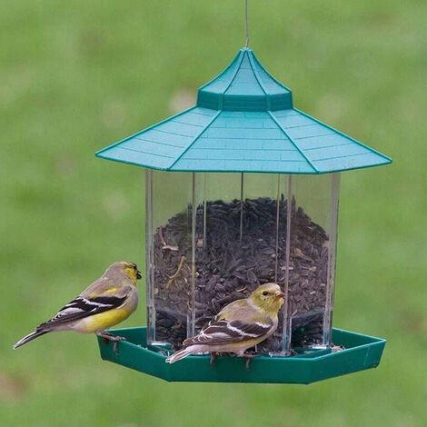Alimentador de pajaros en forma de hexagono de plastico verde resistente al agua, con techo colgante para pajaros salvajes