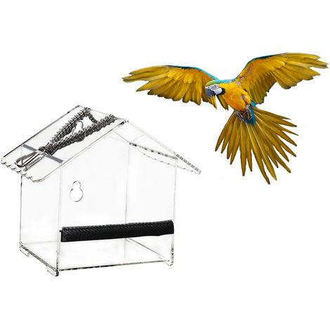 Alimentador del pajaro Casa Ventana de aves se alimentan de aves que cuelgan la caja de acrilico Birdfeeders al aire libre del loro del alimentador de alimentacion del dispositivo ventosas, S