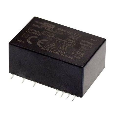 Alimentation CA/CC pour circuits imprimés Mean Well IRM-02-3.3S IRM-02-3.3S 3.3 V/DC 600 mA 2 W 1 pc(s)