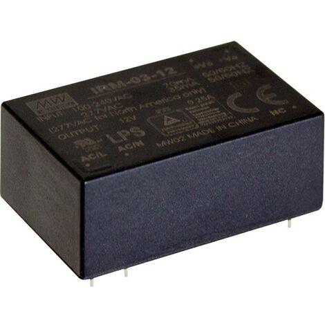 Alimentation CA/CC pour circuits imprimés Mean Well IRM-03-12S IRM-03-12S 12 V/DC 250 mA 3 W 1 pc(s)